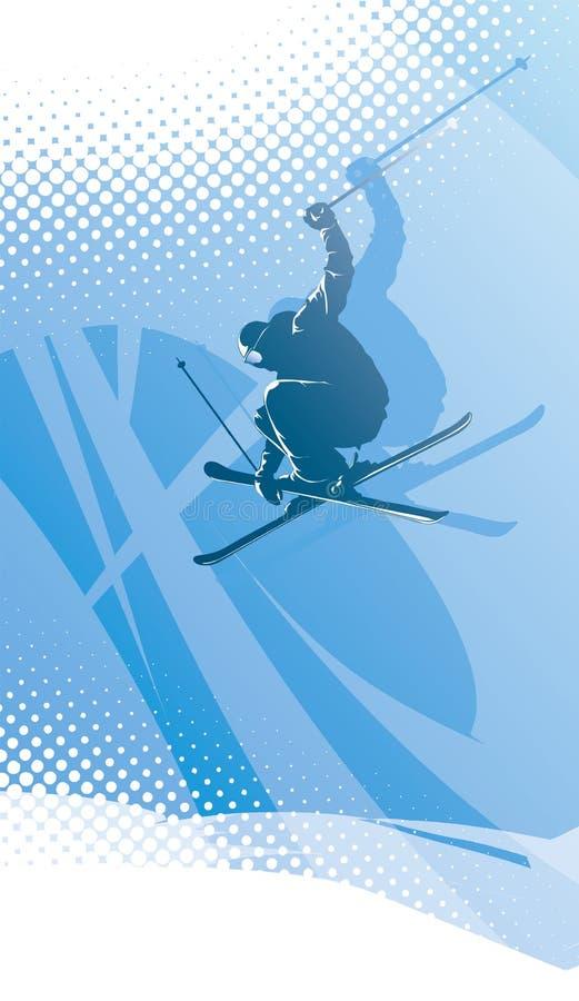 Esquiador do estilo livre no fundo abstrato do inverno ilustração do vetor