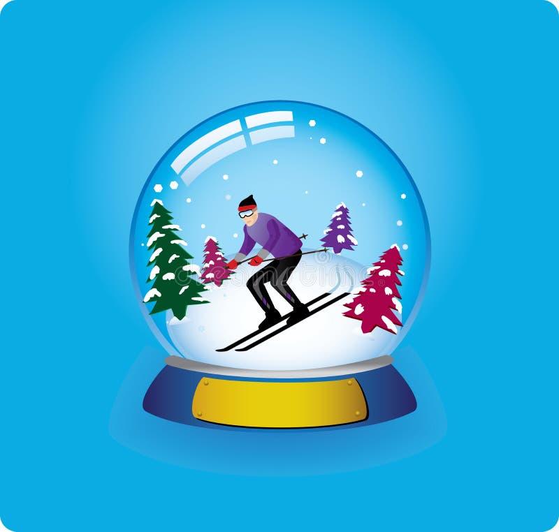 Esquiador do globo da neve ilustração royalty free