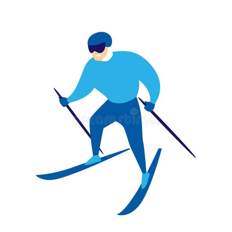 Esquiador do homem abaixo da montanha ilustração royalty free