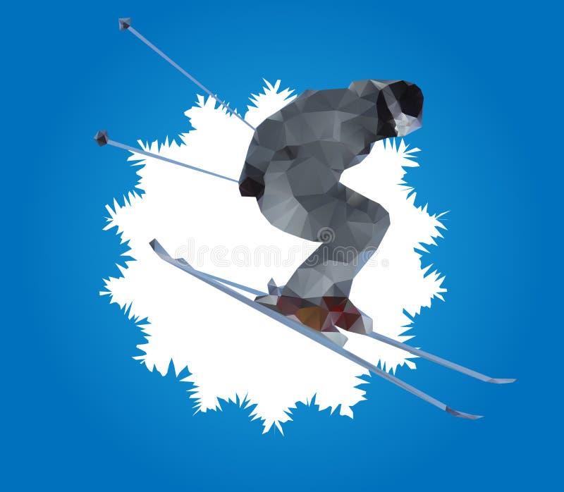 Esquiador do vôo e floco de neve, vetor ilustração stock
