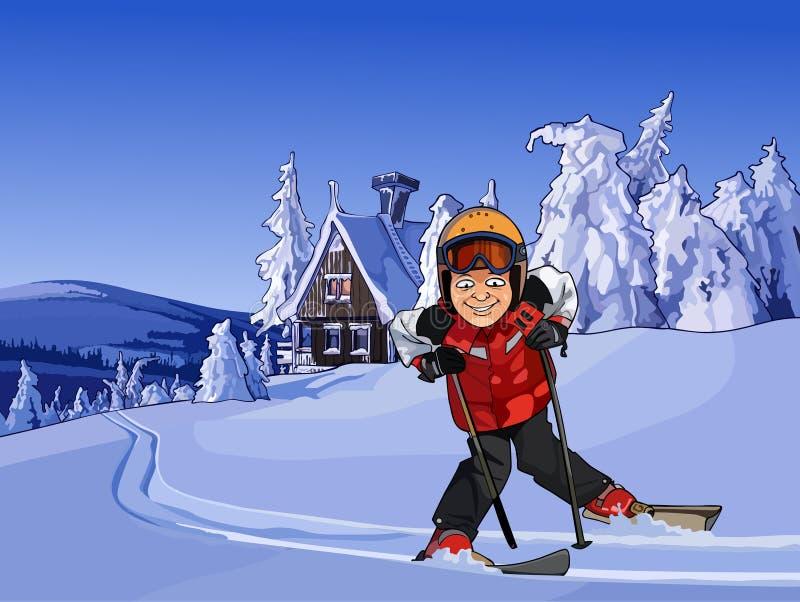 Esquiador dos desenhos animados nas montanhas nevado com uma cabana ilustração do vetor