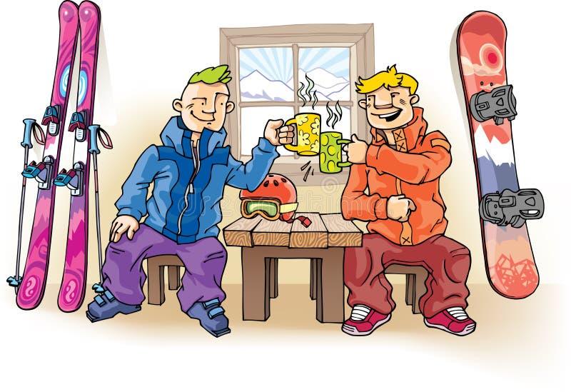 Esquiador e Snowboarder ilustração royalty free
