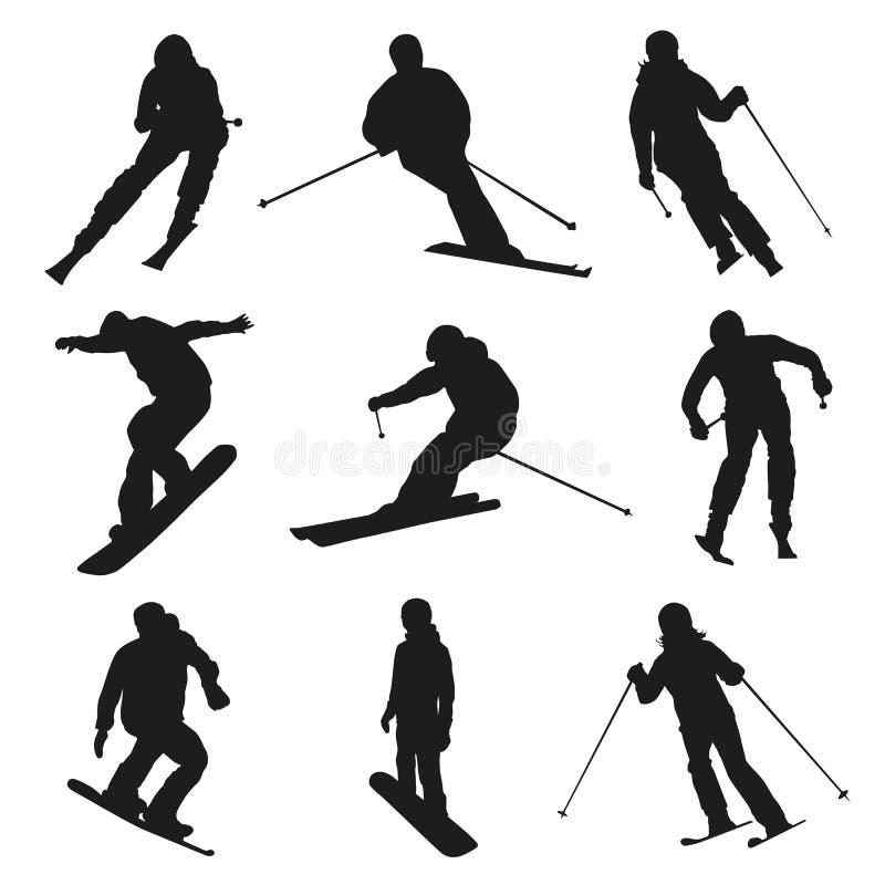 Esquiador e snowboarder Jogo de silhuetas do vetor ilustração do vetor