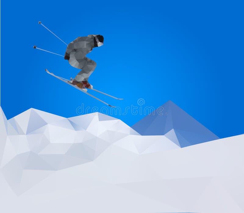 Esquiador em montanhas, vetor do vôo ilustração stock