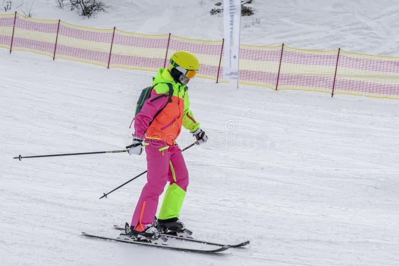 Esquiador em um terno brilhante na inclinação, macacões da menina Conceito do esporte de inverno, lifestile exterior do lazer foto de stock royalty free