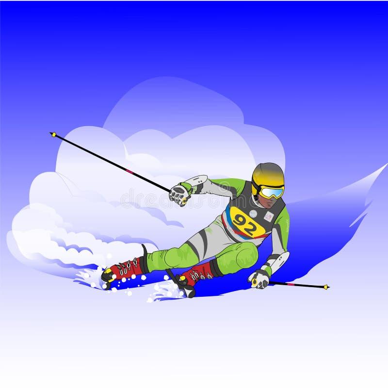 Esquiador en declive stock de ilustración