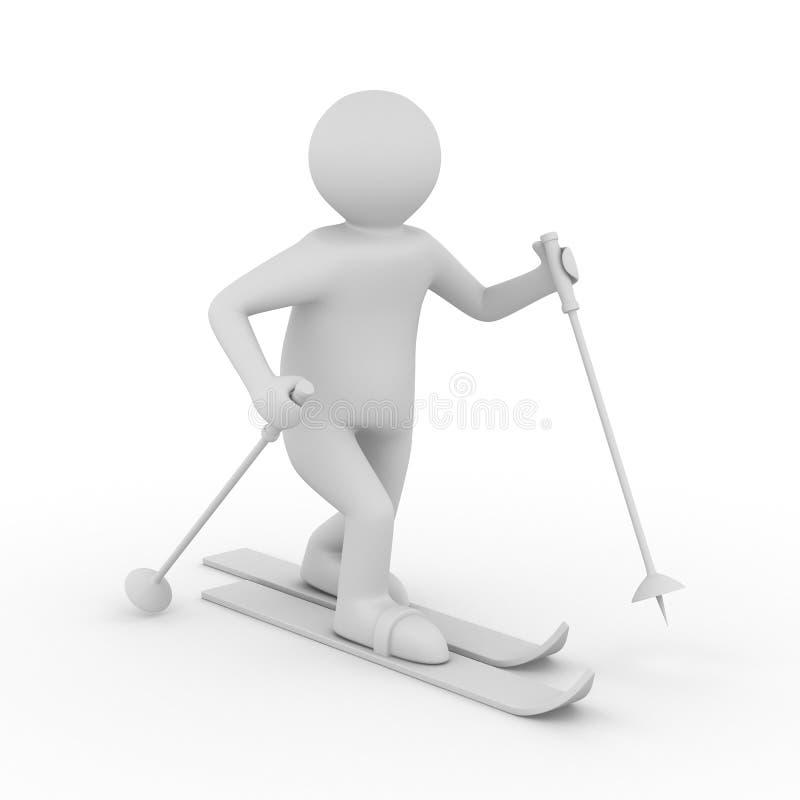 Esquiador en el fondo blanco libre illustration