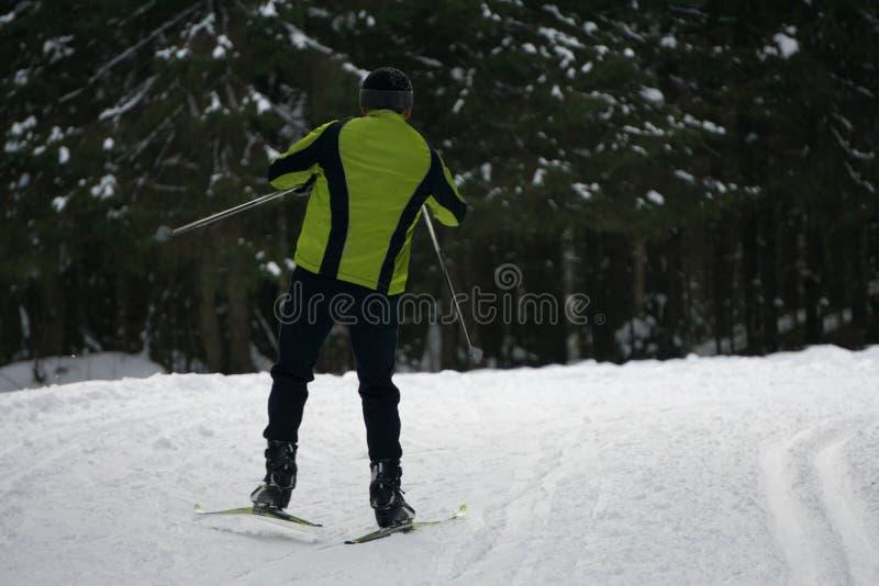 Esquiador en piste en altas montañas fotos de archivo