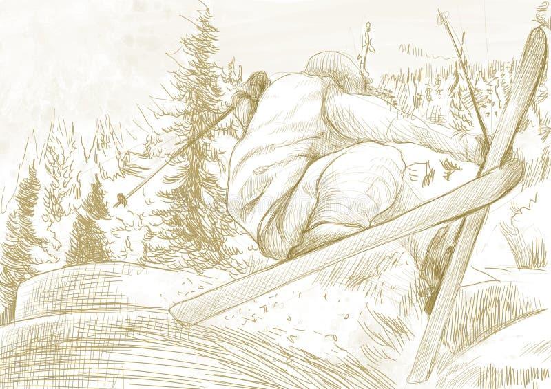 Esquiador - esquiador livre do estilo, truque ilustração royalty free