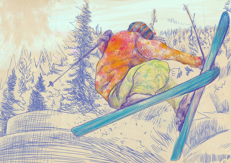 Esquiador - esquiador livre do estilo, truque ilustração do vetor
