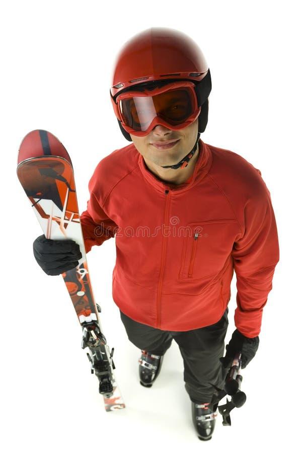 Esquiador masculino de sorriso foto de stock