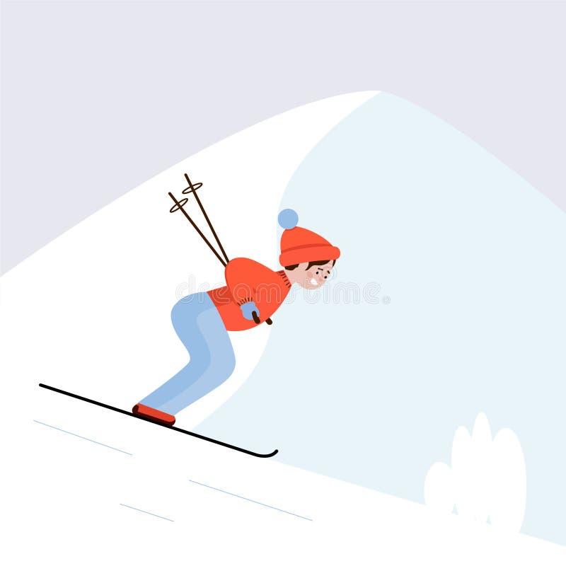 Esquiador na inclinação do esqui Esqui nas montanhas, esportes do indivíduo de inverno ilustração do vetor