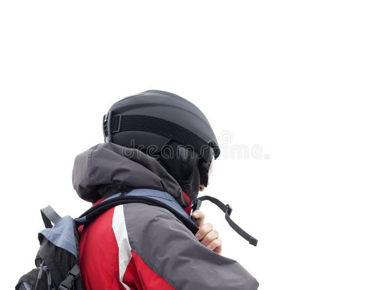 Esquiador na máscara do capacete e de esqui no fundo branco imagens de stock