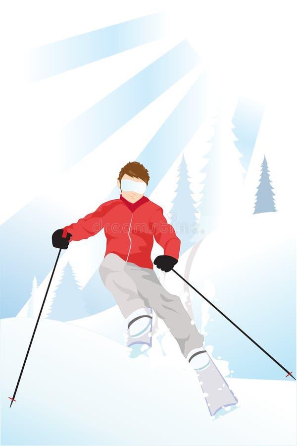 Esquiador na montanha ilustração royalty free