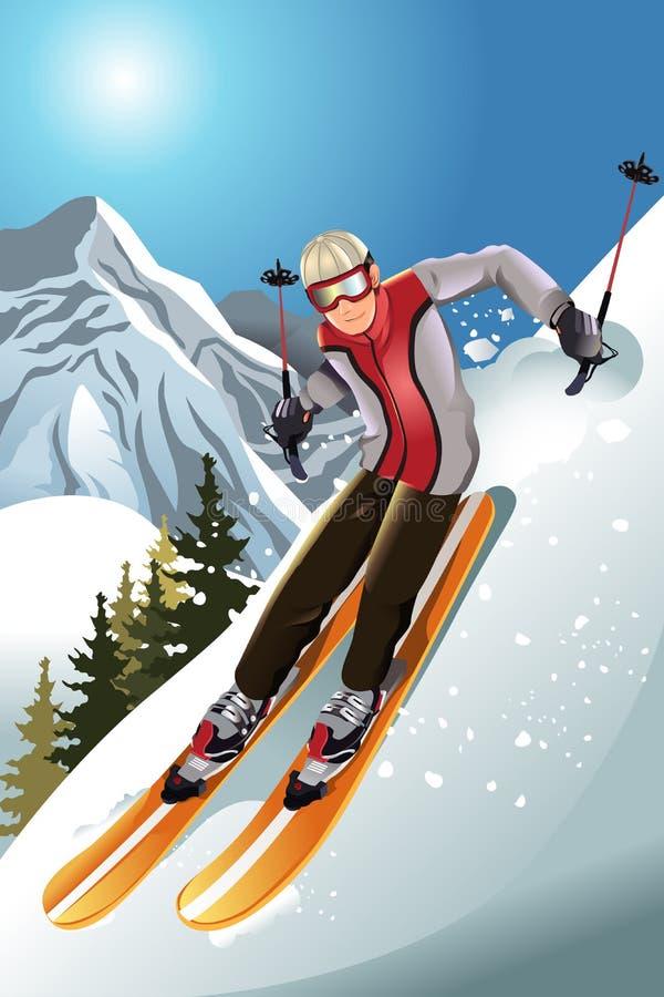 Esquiador na montanha ilustração do vetor
