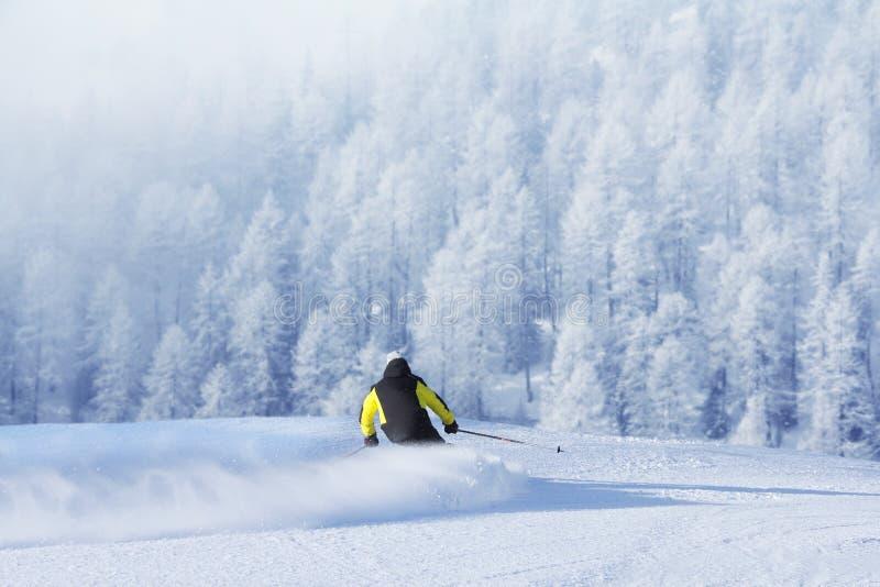 Esquiador nas montanhas altas foto de stock