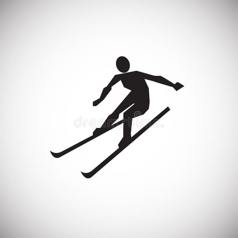 Esquiador no fundo branco ilustração stock