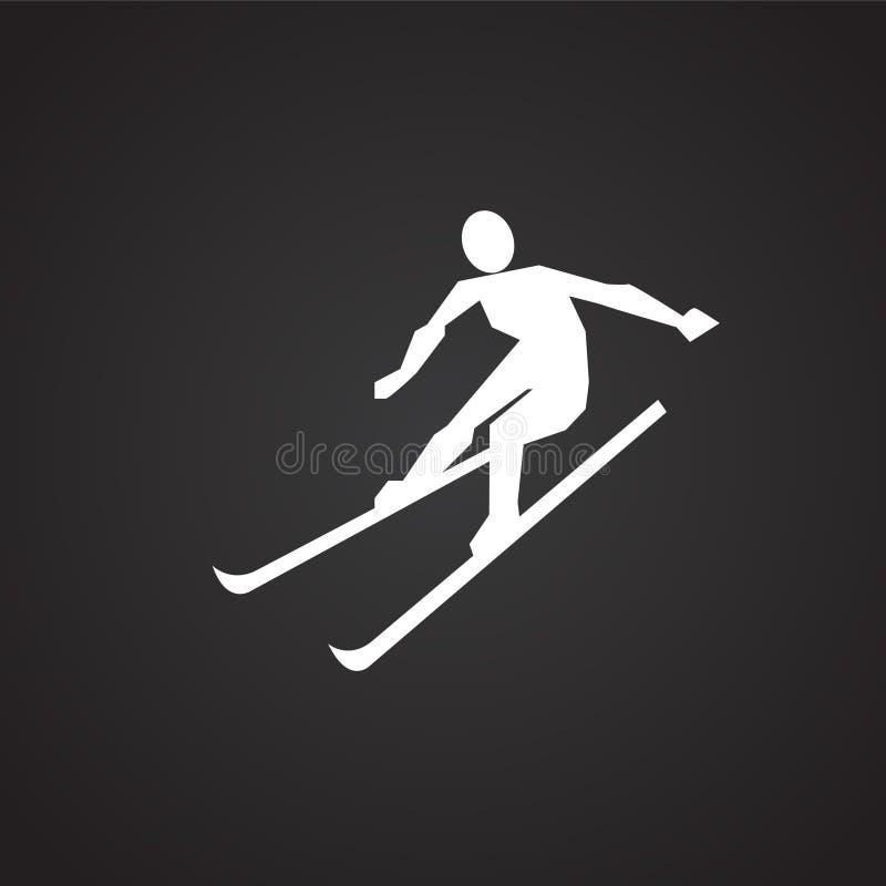 Esquiador no fundo preto ilustração do vetor
