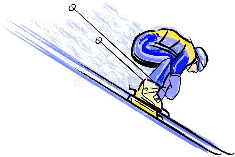 Esquiador no lápis e na aguarela chalkcharcoal secos ilustração stock