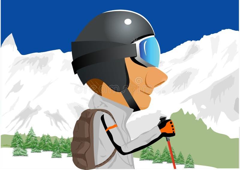 Esquiador que está entre montanhas tampadas neve ilustração stock