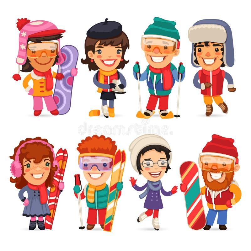 Esquiadores bonitos, skateres e Snowboarders dos desenhos animados ilustração stock