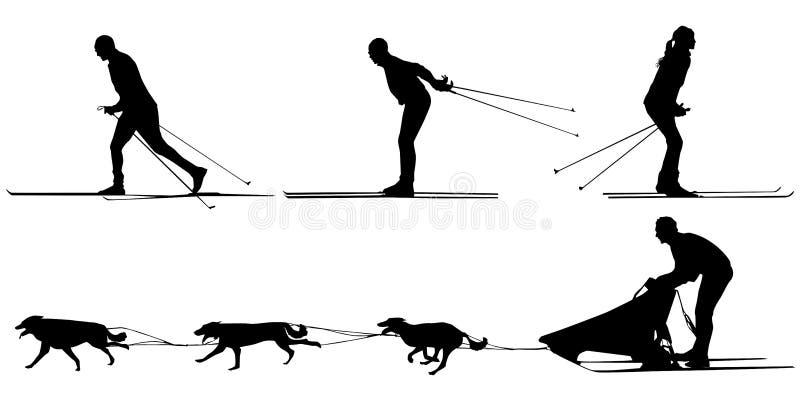 Esquiadores, trineo y equipo del campo a través de perros stock de ilustración