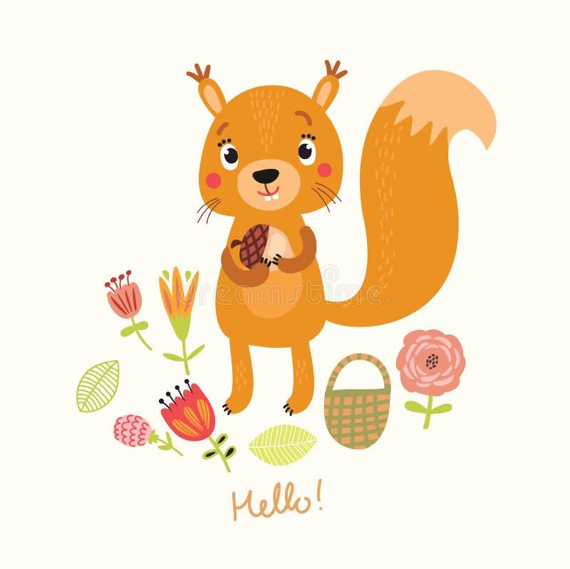 Esquilo bonito ilustração stock