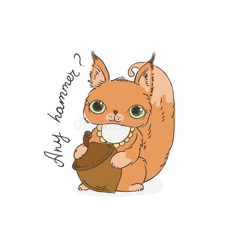 Esquilo bonito da caixa com porca Ilustração do vetor para crianças e crianças ilustração do vetor