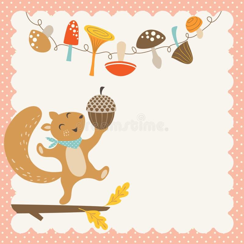 Esquilo bonito do outono ilustração stock