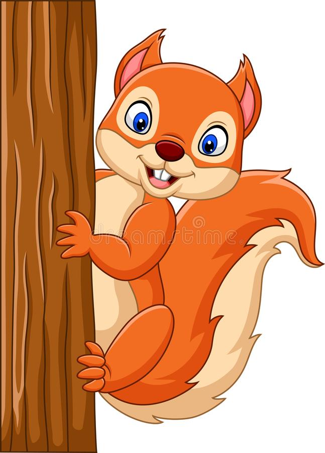 Esquilo bonito dos desenhos animados que escala em uma árvore ilustração do vetor