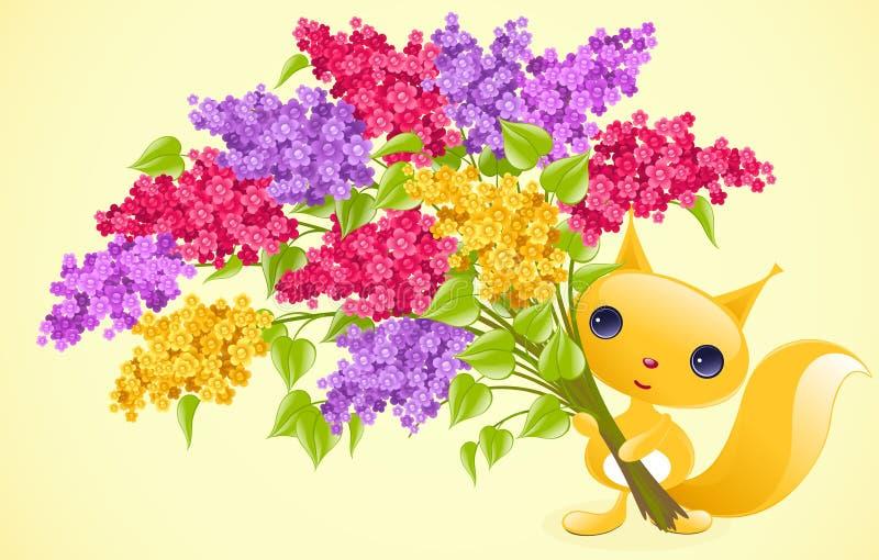 Esquilo com lilac. ilustração royalty free