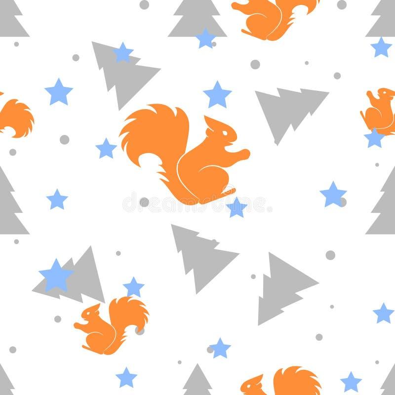 Esquilo da floresta e teste padrão sem emenda branco da árvore de abeto Fundo do vetor ilustração stock