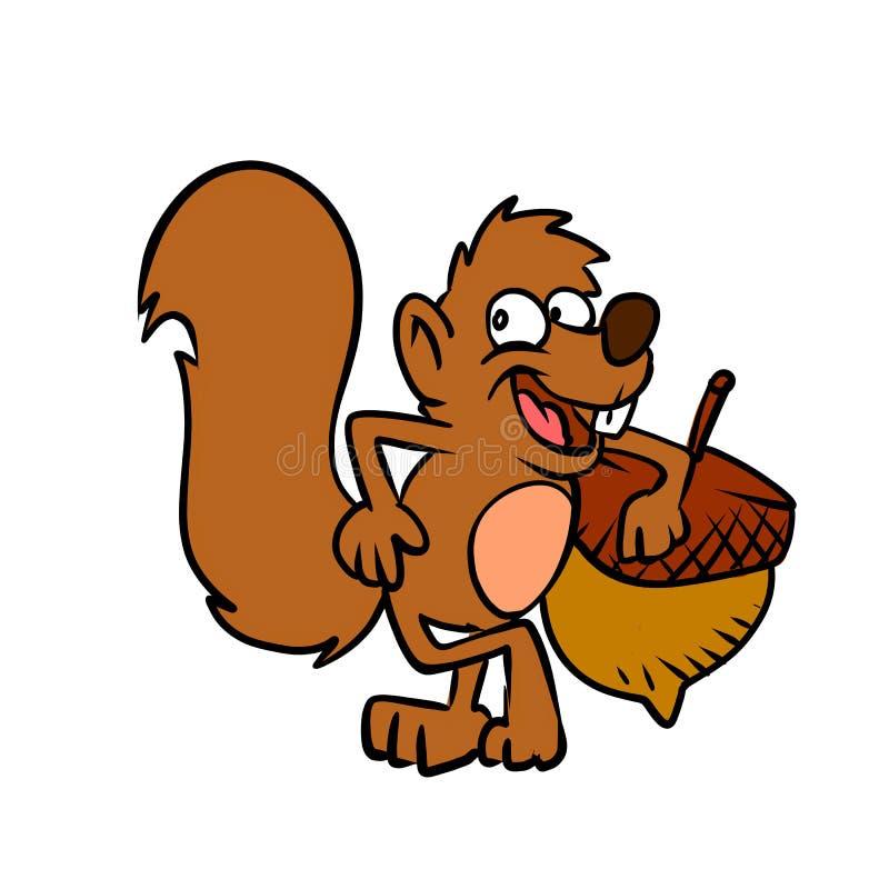 Esquilo dos desenhos animados com porca ilustração royalty free