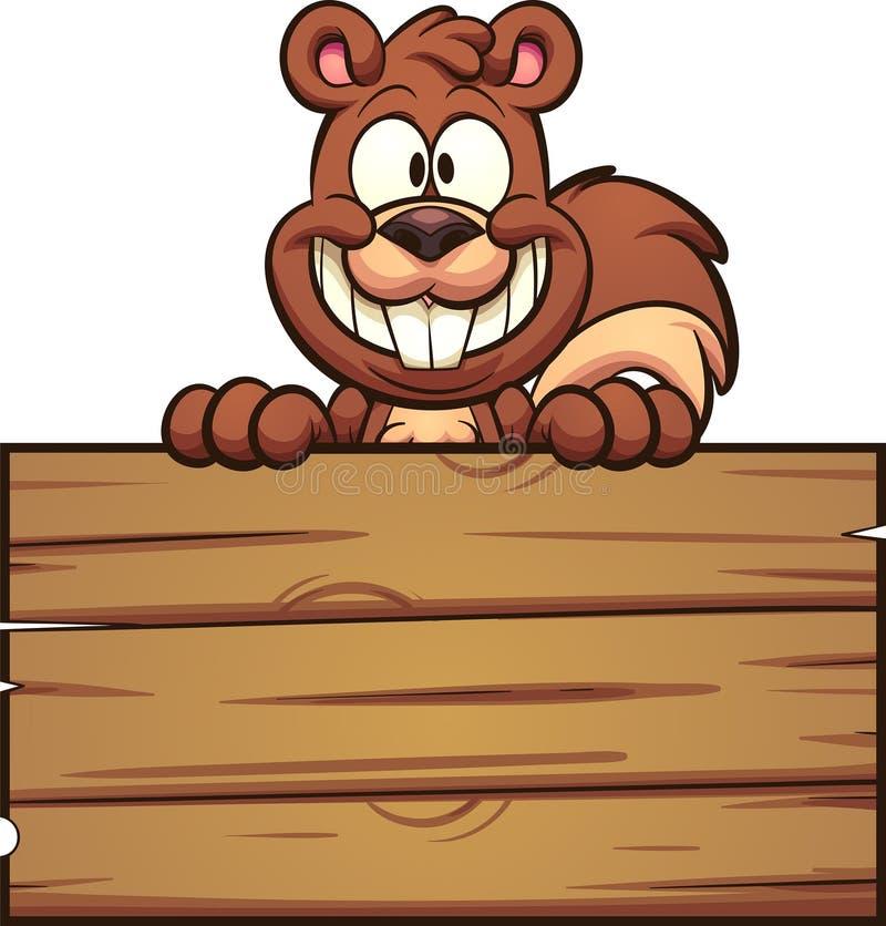 Esquilo dos desenhos animados com sinal de madeira ilustração stock