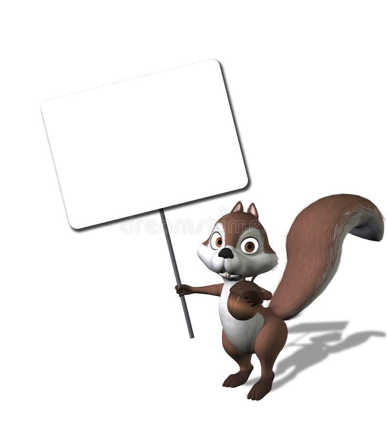 Esquilo dos desenhos animados que prende um sinal em branco ilustração royalty free
