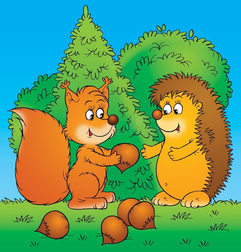 Esquilo e hedgehog