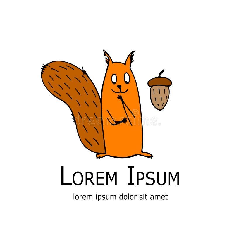 Esquilo engraçado com a porca para seu projeto ilustração stock