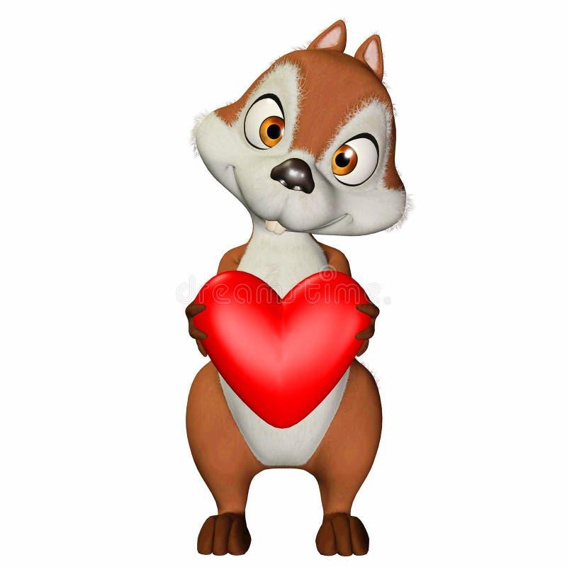 Esquilo no amor ilustração do vetor