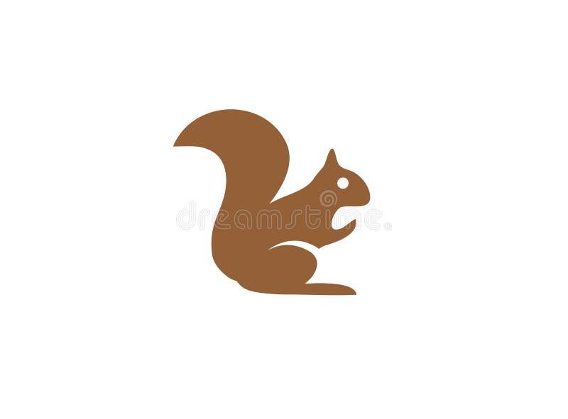 Esquilo que come amêndoas das nozes para o projeto do logotipo ilustração stock