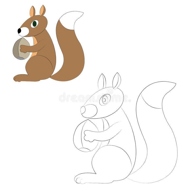 Esquilo que guarda uma porca ilustração do vetor