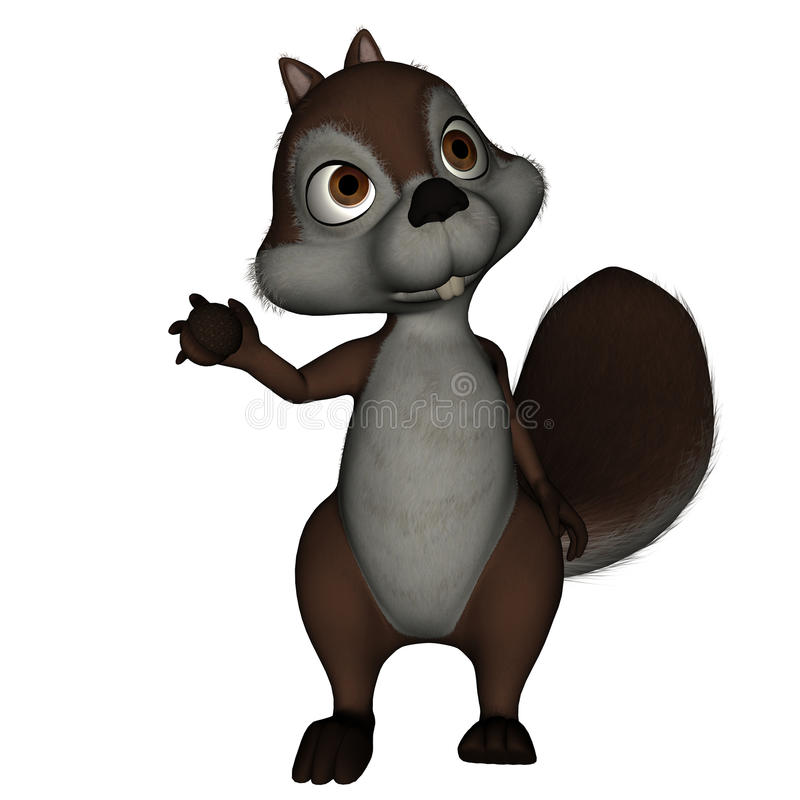 Esquilo que prende uma porca ilustração do vetor
