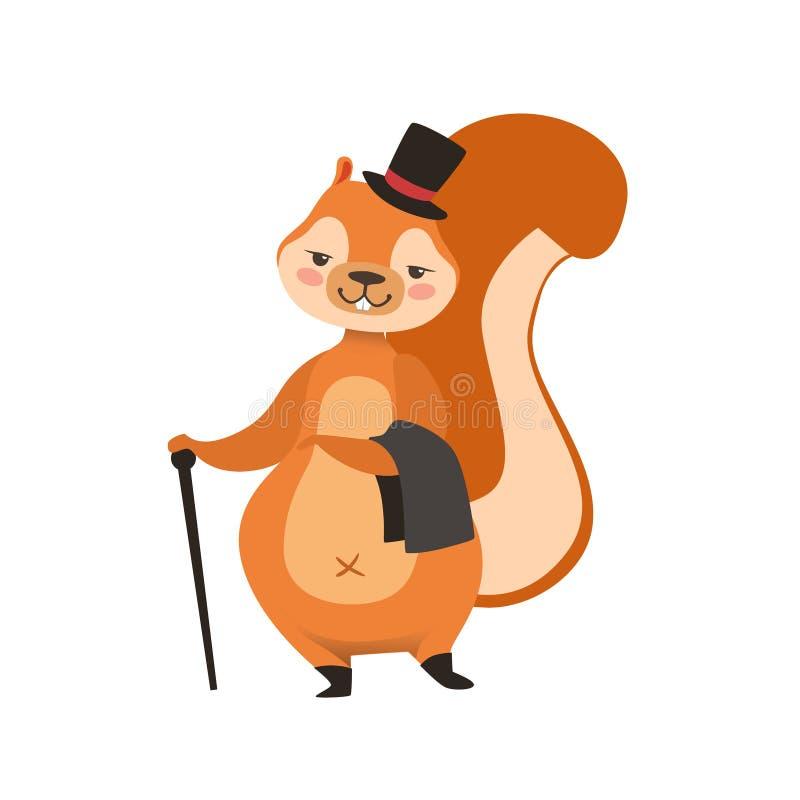 Esquilo vermelho em desenhos animados humanizados equipamento Forest Animal Character Childish Illustration bonito do cavalheiro ilustração stock