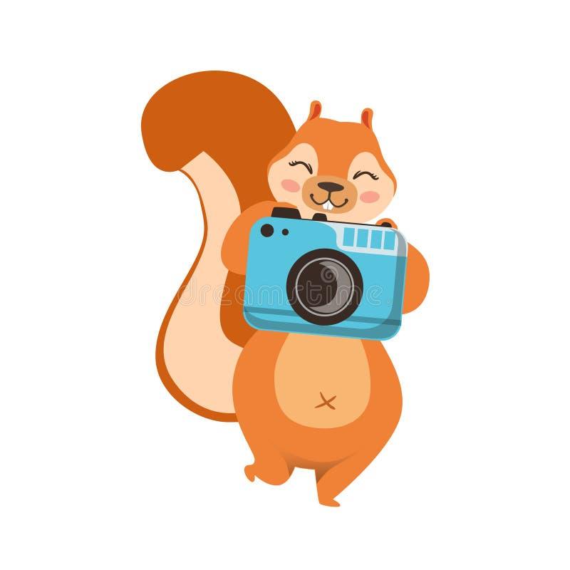 Esquilo vermelho que toma a imagem com desenhos animados humanizados câmera Forest Animal Character Childish Illustration bonito  ilustração royalty free