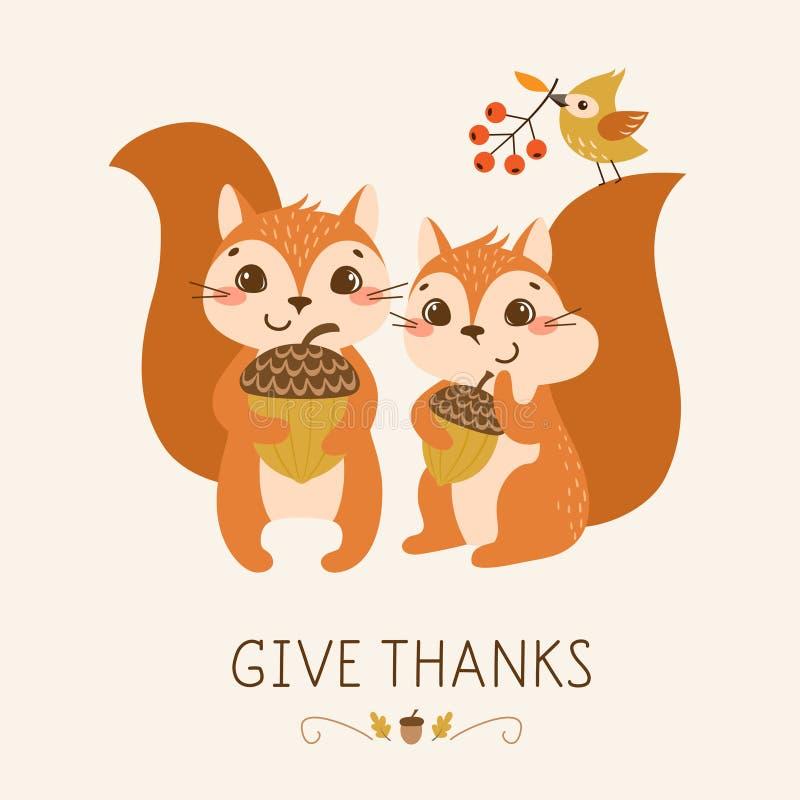 Esquilos bonitos da ação de graças ilustração stock