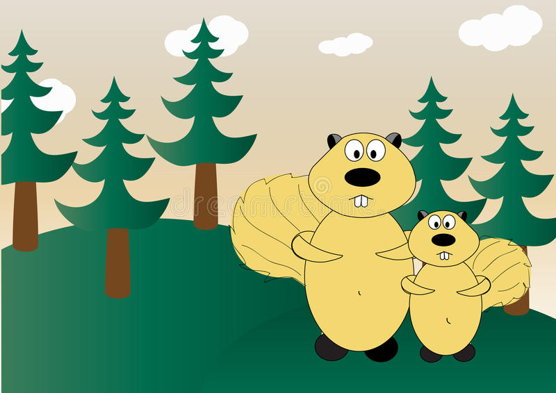 Esquilos na floresta foto de stock