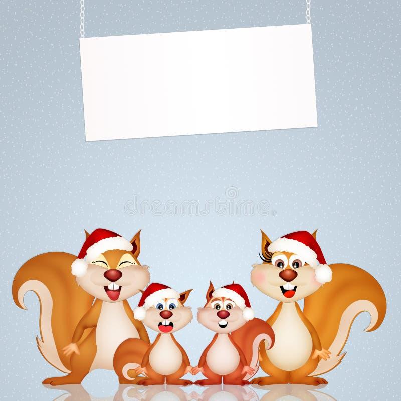 Esquilos no Natal ilustração do vetor