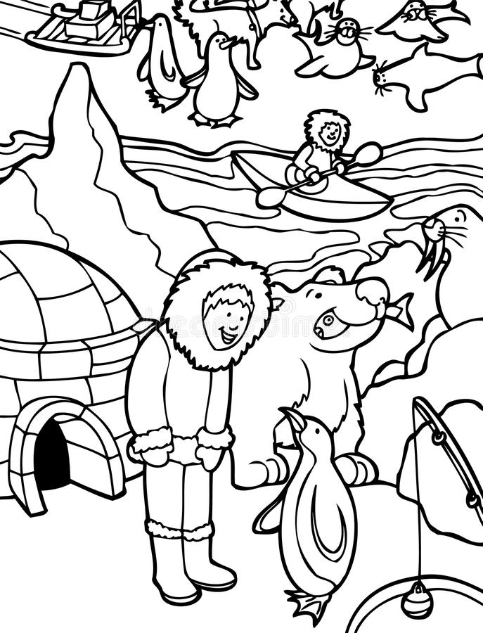 Esquimó em Alaska - preto e branco ilustração royalty free
