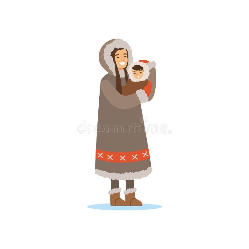 Esquimó, Inuit, mulher de Chukchi no traje tradicional que guarda o bebê em suas mãos, pessoa do norte, vida no norte distante ilustração stock