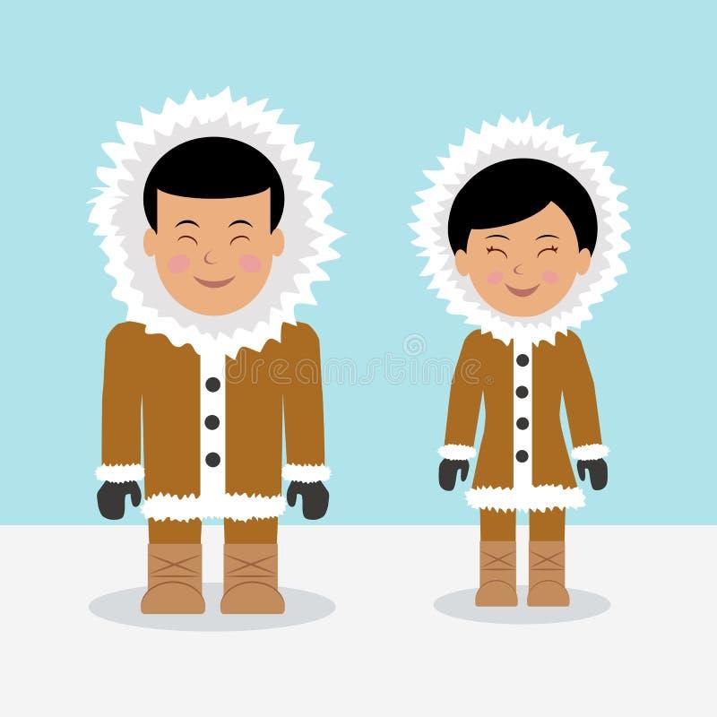 Esquimós dos caráteres ilustração stock