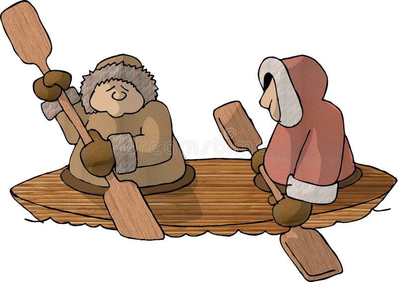 Esquimós em um caiaque ilustração royalty free